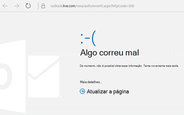 """Código de erro 500 """"Algo correu mal"""" do Outlook.com"""