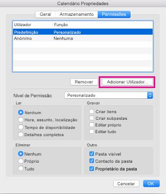 Adicionar o botão de utilizador no separador permissões do calendário