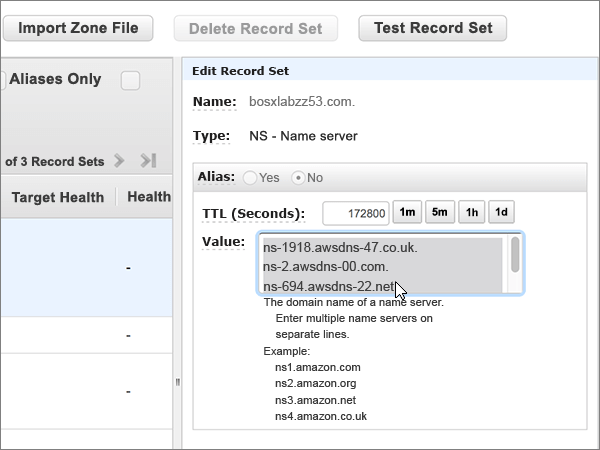 Selecione e eliminar todos os servidores de nomes na caixa valor