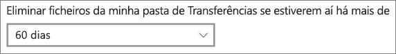 Menu de dropdown do Windows 10 para apagar ficheiros descarregados mais antigos