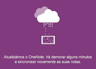 Ecrã de sincronização no OneNote para Android