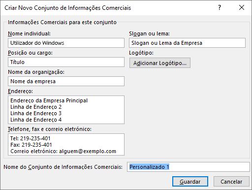 Captura de ecrã da caixa de diálogo Criar Novo Conjunto de Informações Comerciais.