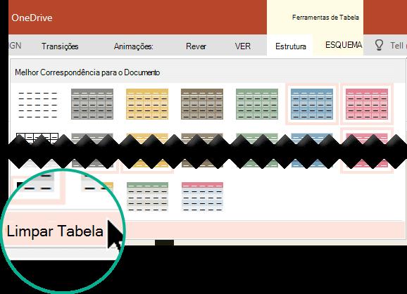 """Remova um estilo de mesa utilizando o comando """"Tabela Clara""""."""