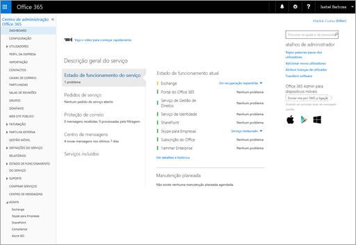 Um exemplo do que o centro de administração do Office 365 parece quando tem um Plano Online do Skype para Empresas Online.
