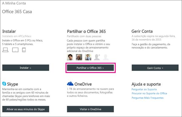 """Captura de ecrã da página A Minha Conta com o botão """"Partilhar o Office 365"""" selecionado."""