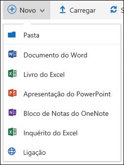 Criar um novo ficheiro numa biblioteca de documentos no Office 365