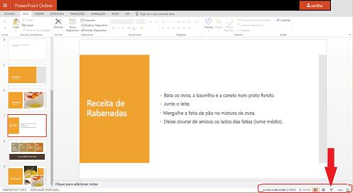 Para começar a apresentação de diapositivos a partir do diapositivo atual, clique no botão de apresentação de diapositivos no canto inferior direito do seu browser.