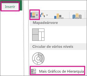 O tipo de Gráfico de Caixa e Whisker no separador Inserir do Office 2016 para Windows