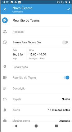 Página novo evento com ativar/desativar reunião do teams