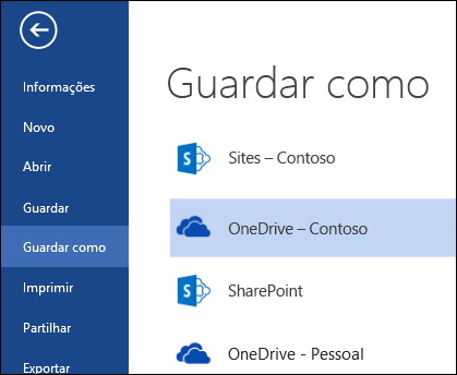 Pasta do OneDrive para Empresas durante a operação abrir ou guardar ficheiro