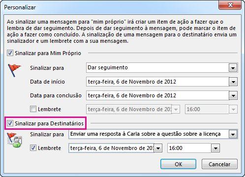 Caixa de verificação do comando Sinalizar para Destinatários na caixa de diálogo Personalizar