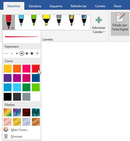Mostra o separador Desenhar no Word 2016 com a secção Canetas realçada.