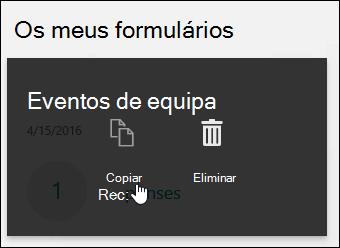 Clicar no botão Copiar num formulário existente
