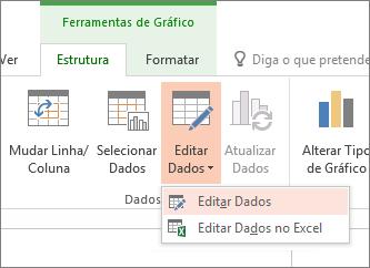 Ferramentas de gráfico com a ferramenta editar dados selecionada