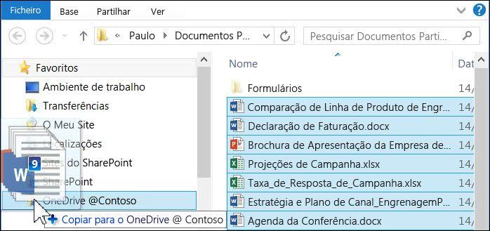 Arraste ficheiros para a pasta sincronizada do OneDrive para Empresas para os carregar