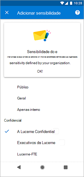 Screenshot de etiquetas de sensibilidade no Outlook para Android