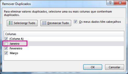 Caixa de diálogo Remover Duplicados