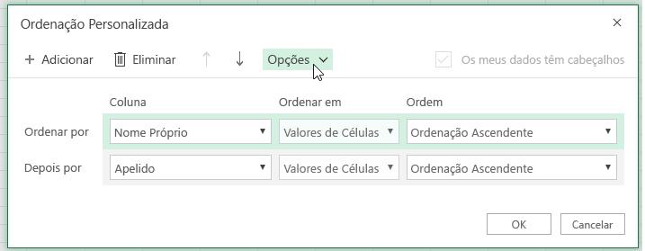 Caixa de diálogo de ordenação personalizada com o botão de opção selecionado