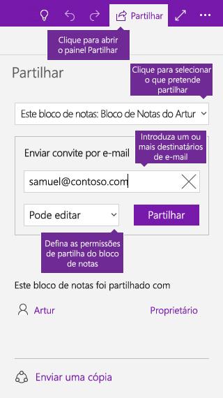 Captura de ecrã a mostrar a partilha de um bloco de notas inteiro no OneNote