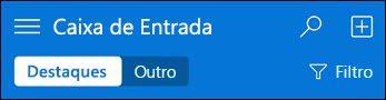 Navegação superior para o mini Outlook Web App