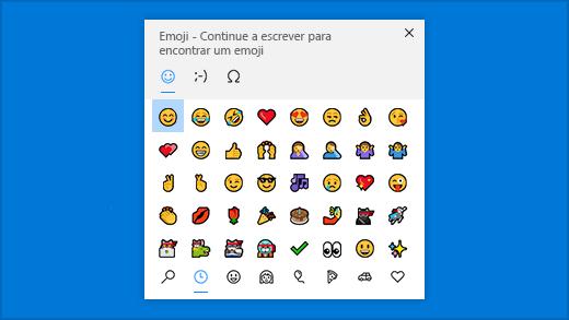 Painel de emojis de atalho