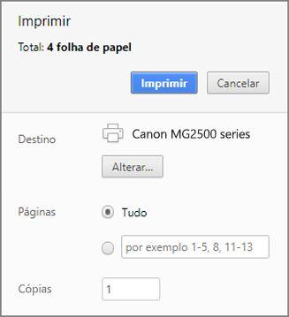 Opções do painel Imprimir do Chrome