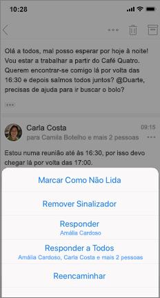 Conversação de e-mail com marcar como não lida, desmarcar e outras opções