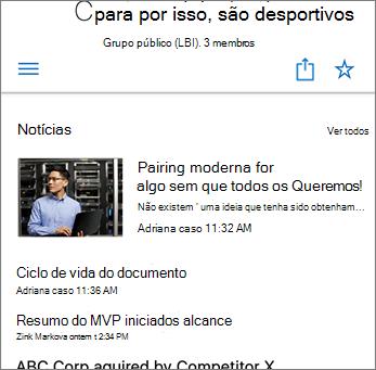Captura de Ecrã a mostrar as Notícias de Equipa no Site