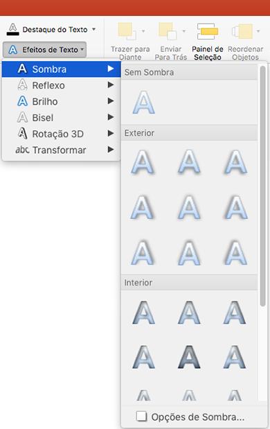 Opções de sombra no menu efeitos de texto