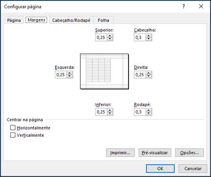 Configurar página > as opções de margem
