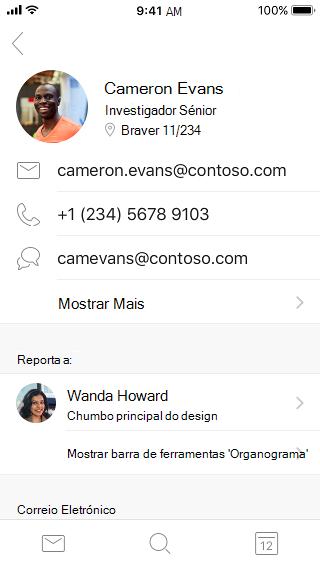 Exemplos de cartões de contacto que mostram informações de contacto e informações adicionais