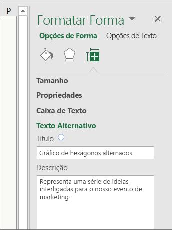Captura de ecrã a mostrar a área Texto Alternativo do painel Formatar Forma com uma descrição do gráfico SmartArt selecionado