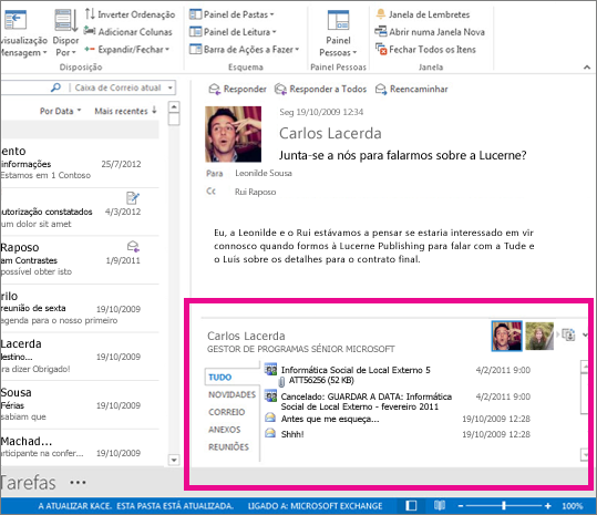 O Outlook Social Connector expandido