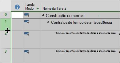 Captura de ecrã da vista de Gráfico Gantt com o cursor a pairar sobre o divisor de linha