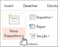 Botão Novo diapositivo