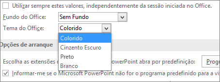 Mostra as opções do Tema do Office no PowerPoint 2016