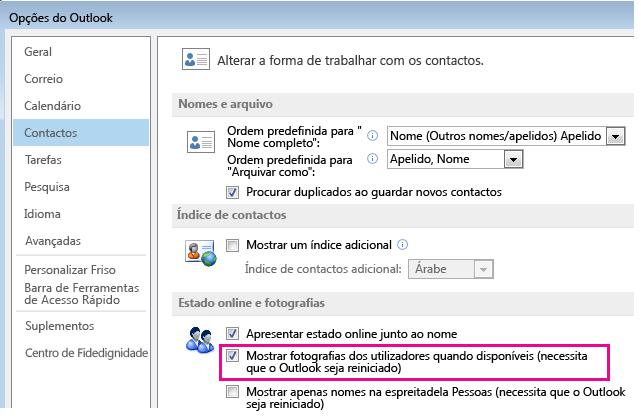 Captura de ecrã da janela de Opções do Outlook com a caixa de verificação Ativar fotografias em destaque