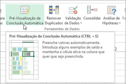 Opção de Pré-visualização da Conclusão Automática no friso