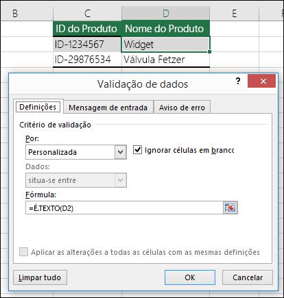 Exemplo 2: Fórmulas na validação de dados