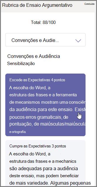 Selecione a nota que lhes pretende atribuir para a secção selecionada e escreva os comentários na parte inferior