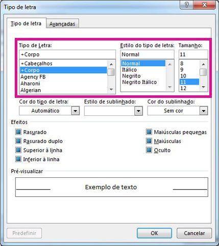 Opções de tamanho, estilo e tipo de letra na caixa de diálogo Tipo de Letra