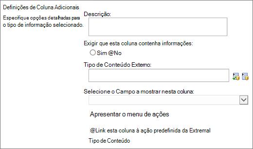 Opções de coluna de dados externos