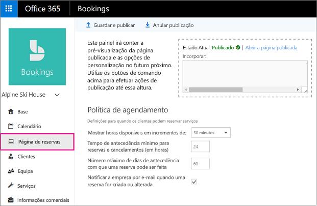 Reserva de página com a opção de navegação esquerdo realçada