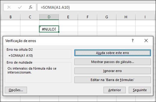 Mover a caixa Verificação de Erros abaixo da Barra de Fórmulas