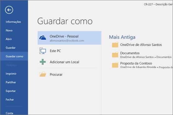 Opção Guardar Como com o OneDrive predefinido