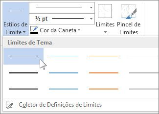 Estilos de limites de tabela