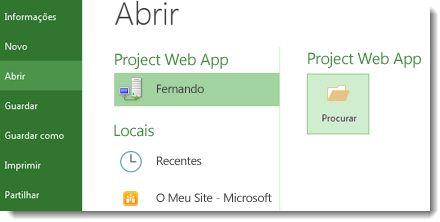Botão Procurar para abrir um ficheiro Project Web App