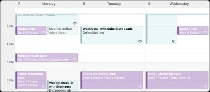 Vista de calendário de 3 dias.