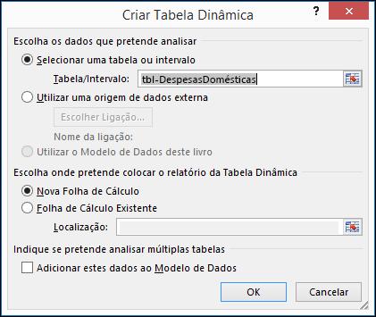 Caixa de diálogo Criar Tabela Dinâmica do Excel