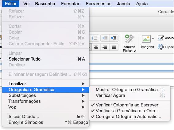 Opções na Editar > menu Ortografia e gramática